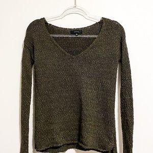 Talula wool blend v-neck sweater SZ XS green GUC